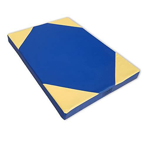 NiroSport Weichbodenmatte 100 x 70 x 8 cm Turnmatte Gymnastikmatte Fitnessmatte Sportmatte Trainingsmatte Bodenmatte Schutzmatte Übungsmatte wasserdicht Blau/Gelb