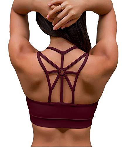 YIANNA Damen Sport BH Ohne Buegel Gepolstert Mittlere Halt Bustier Strappy Bequem Fitness Yoga BH Starker Halt Workout Tank Top Shirt Rot,YA139 Size L