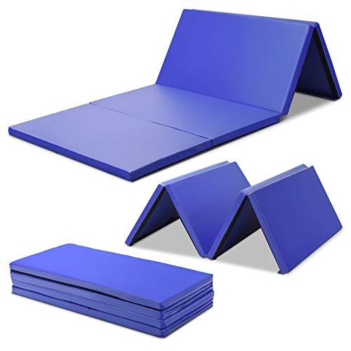 COSTWAY Weichbodenmatte 240x120x5cm   Gymnastikmatte klappbar   Yogamatte groß   Turnmatte   Klappmatte   Fitnessmatte Farbwahl (Blau)