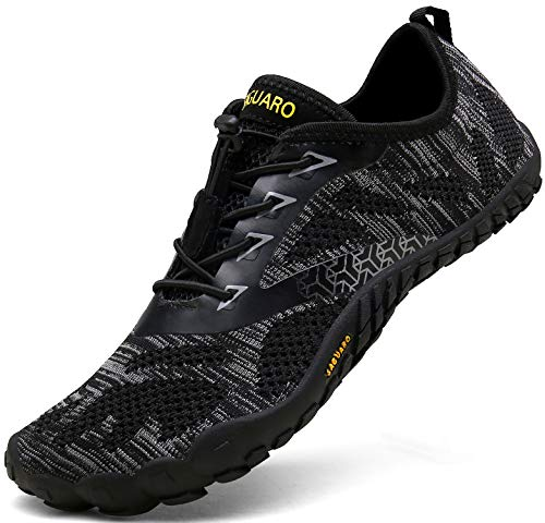 SAGUARO Barfußschuhe Herren Trail Laufschuhe Damen Indoor Outdoor Sport Fitnessschuhe Leicht Zehen Wander Trekking Schuhe für Frauen Männer Schwarz Gr.44