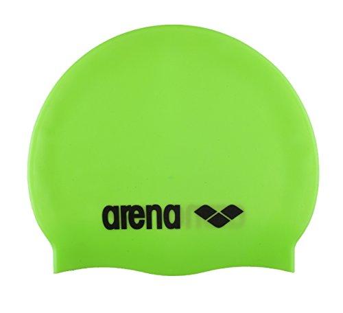 arena Unisex Badekappe Classic Silikon (Verstärkter Rand, Weniger Verrutschen der Kappe, Weich), Acid Lime-Black (65), One Size