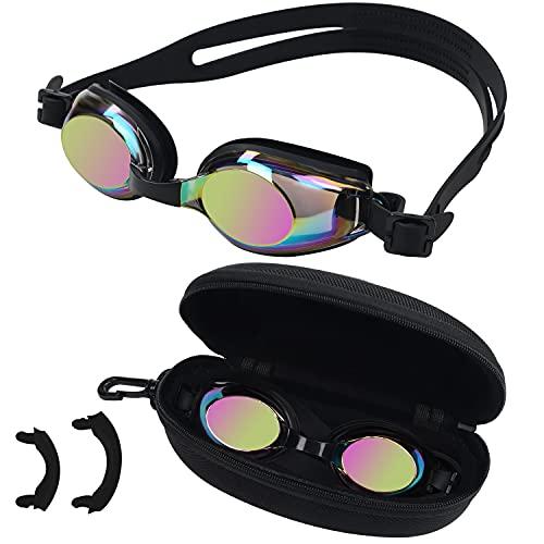 BEZZEE PRO Schwarze Kinder Schwimmbrille - UV Schutz & Antibeschlag Brille mit Etui - 3 Unterschiedlich Große Weiche Nasenstege - Vollkommen Dicht, Verstellbar für Jugendliche & Kinder Taucherbrille