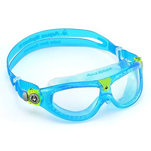 Aqua Sphere Unisex-Youth Seal Kid 2 Schwimmmaske, Klare Gläser - Aqua, Einheitsgröße