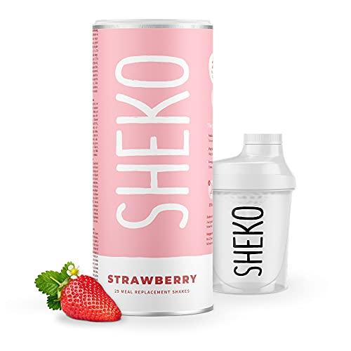SHEKO Diätshake zum Abnehmen | Erdbeer Protein Pulver | 25 Portionen Mahlzeit Ersatz inkl. Shaker