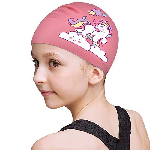 Funown Kinder-Badekappe für Kinder, Jungen und Mädchen im Alter von 2–8 Jahren, wasserdichte Badekappen für langes und kurzes Haar (Pink)