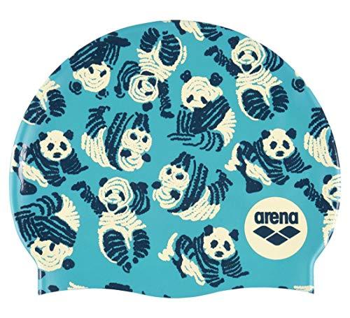 arena Print 2 Silikon-Badekappe für Damen und Herren, Pandas
